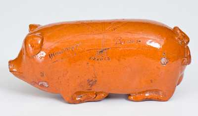 Extremely Rare Anna Pottery Redware Pig Flask with Inscribed Railroad and River Map