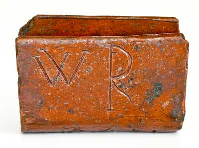 Unusual Redware Book-Form Inkwell Inscribed