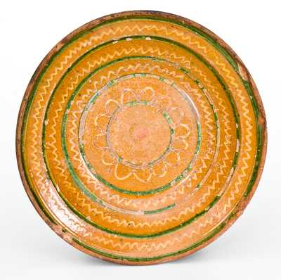 Redware Dish w/ Profuse Yellow and Green Slip Decoration, Pennsylvania or Southern
