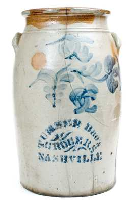 Rare NASHVILLE, TN Stoneware Advertising Churn by A. RUSSELL / BEAVER, PA