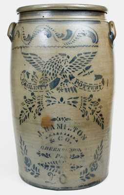 Outstanding 20 Gal. EAGLE POTTERY / J. HAMILTON & CO. / GREENSBORO, PA Stoneware Jar