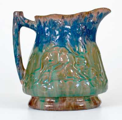 JOHN BELL / WAYNESBORO Redware Hunt Scene Pitcher with Three-Color Glaze