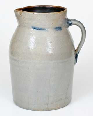 One-Gallon Stoneware Tankard Pitcher with Cobalt Floral Decoration, Ohio origin, circa 1875