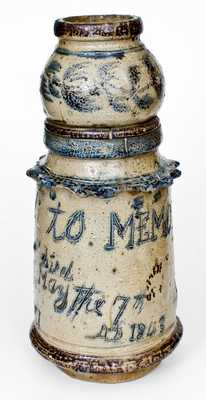 Exceptional Stoneware Memorial Urn, probably Central PA origin, made for Potter Joseph Zuber