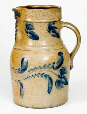 Scarce att. Shenfelder, Reading, PA One-Gallon Stoneware Pitcher w/ Cobalt Floral Decoration