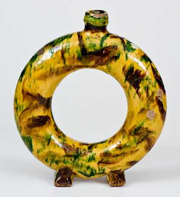 Exceptional New England / New York State Redware Ring Flask w/ Multi-Colored Slip Decoration