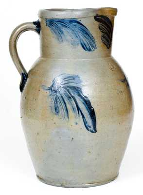 One-and-a-Half-Gallon Baltimore Stoneware Pitcher with Cobalt Leaf Decoration