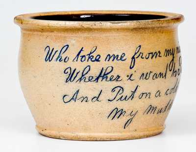 Outstanding Stoneware Child s Chamber Pot with Charming Poetic Inscription