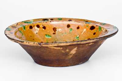 Outstanding Loy Family, Alamance County, NC Redware Bowl w/ Multi-Colored Spotted Slip Decoration