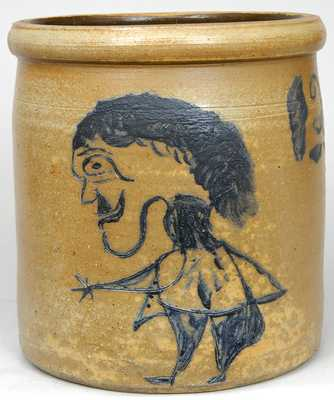 Midwestern Stoneware Crock w/ Incised Folk Art Figure of a Man