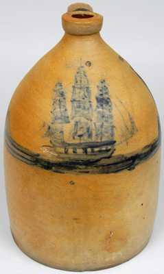 New York or New England Stoneware Ship Jug