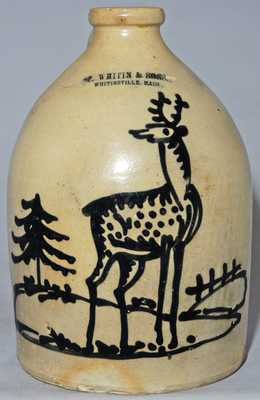 Norton Stoneware Deer Jug w/ Mass. Advertising
