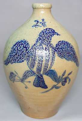 Stoneware Incised Eagle Jug, probably New York State