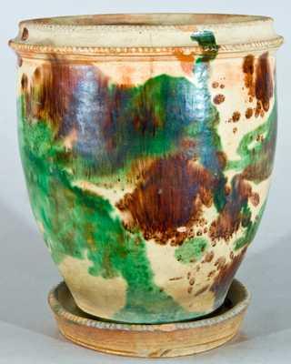 Strasburg, VA Multi-Glaze Redware Flowerpot