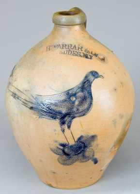 W.H. FARRAR & Co. / GEDDES, NY Stoneware Jug w/ Two Incised Birds