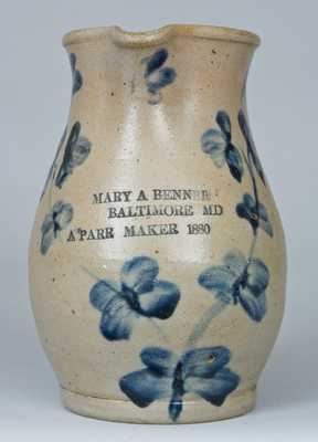 MARY A BENNER / BALTIMORE, MD / A. PARR MAKER 1880 Stoneware Pitcher