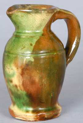 Multi-Glazed Redware Cream Pitcher, Shenandoah Valley