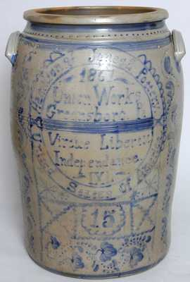 Hamilton & Jones s Pottery / Union Works / Greensboro, Pa. 15-Gallon Crock