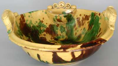 Shenandoah Valley Multi-Glaze Redware Washbowl, S. Bell & Sons