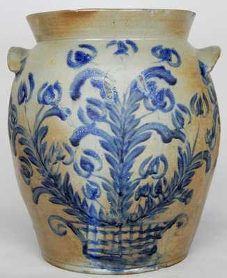 Six-Gallon Baltimore Stoneware Crock w/ Profuse Cobalt Decoration