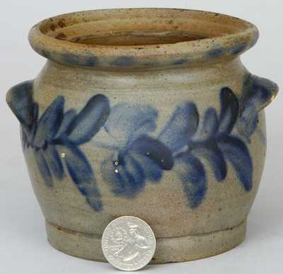 Very Rare Stoneware Sugar Bowl with Cobalt Tulip Decoration, Incised on Underside