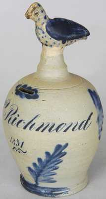 Richard C. Remmey, Philadelphia Stoneware Bank w/ Bird Finial