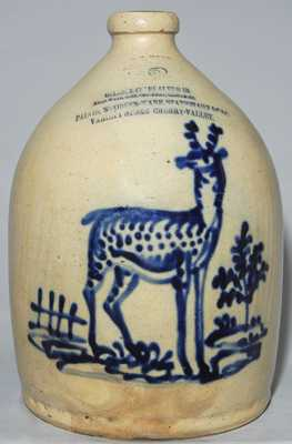 J. &. E. NORTON / BENNINGTON, VT Stoneware Deer Jug w/ Cherry Valley, NY Advertising
