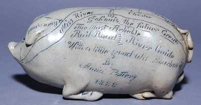Anna Pottery Pig Bottle / Railroad Flask, Anna, Illinois, 1888