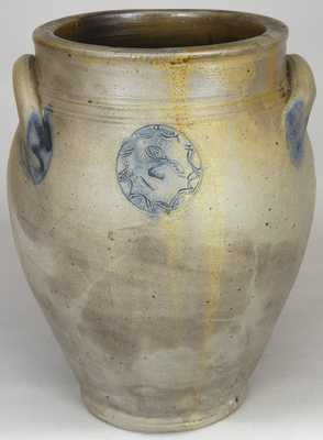 Stoneware Jar w/ Sun Face Design, attrib. Xerxes Price, South Amboy, NJ