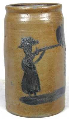 Morgantown, WV or Southwestern PA Stoneware Jar w/ Woman Firing Gun