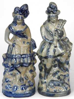 Pair of Stoneware Figures, attributed T. Harrington, Lyons, NY