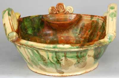 Eberly, Strasburg, Virginia, Multi-Glazed Redware Washbowl