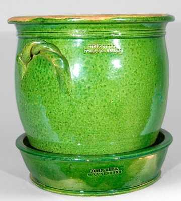 JOHN BELL / WAYNESBORO Redware Flower Urn & Saucer, Bright Green Glaze