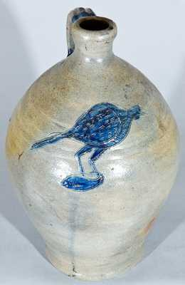 Northeastern US (possibly NJ) Stoneware Jug w/ Incised Bird Holding a Fish