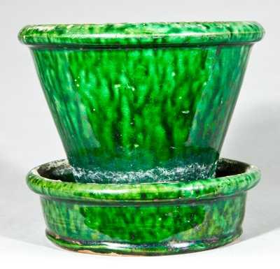 JOHN BELL / WAYNESBORO Redware Green-Glazed Flowerpot
