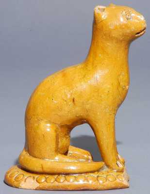 Redware Cat Figure, attributed to Solomon Bell, Strasburg