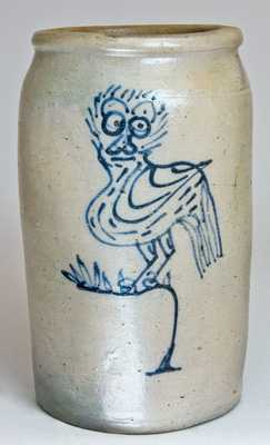 Stoneware Jar w/ Folk Art Owl Decoration, possibly Kentucky