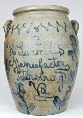 H Lowndes / Manufactor / Petersburg / Va Stoneware Jar