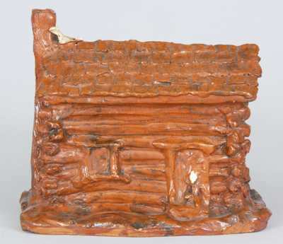 Redware Log Cabin Bank
