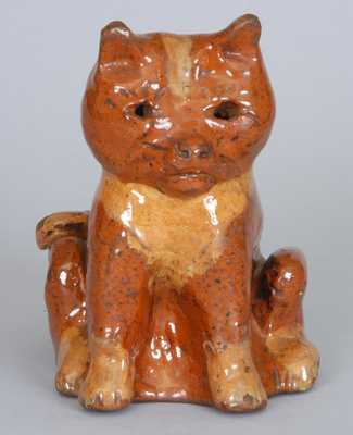 Redware Cat Bank, Probably PA