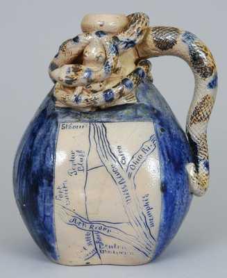 Anna Pottery Snake Jug, Wallace & Cornwall Kirkpatrick, Anna, Illinois