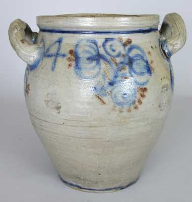 Early New Jersey Stoneware Jar w/ Cobalt and Manganese Decoration